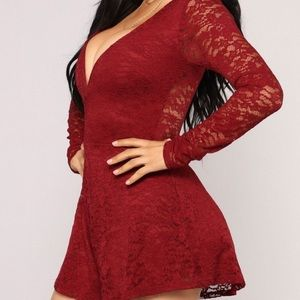 Long sleeve lace burgundy romper